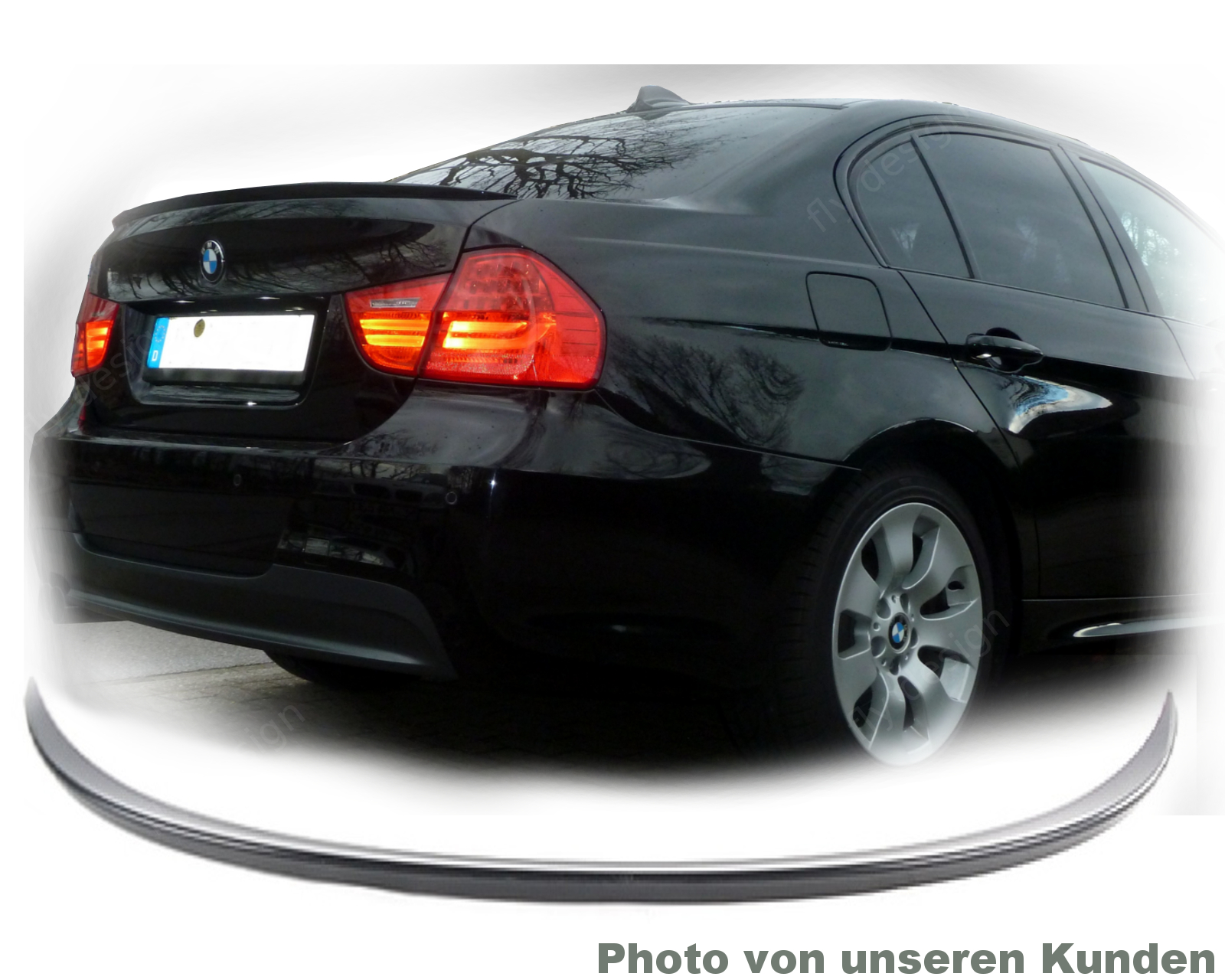 bmw e90 tuning spoiler m lippe schwarz lackiert. Black Bedroom Furniture Sets. Home Design Ideas