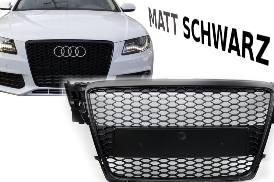 Für Audi A4 B8 RS4 Look 07-12 Kühlergrill Schwarz glanz S-line S4 Stoßstange #02