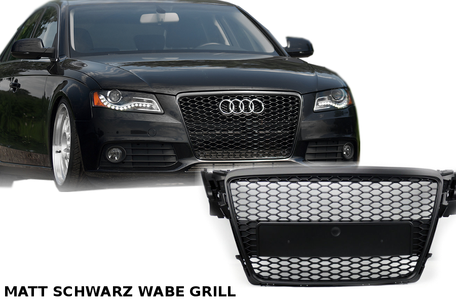 audi a4 2009 12 grille calandre pare chocs rejilla b8 s4 grille rs 4 mat noir ebay. Black Bedroom Furniture Sets. Home Design Ideas