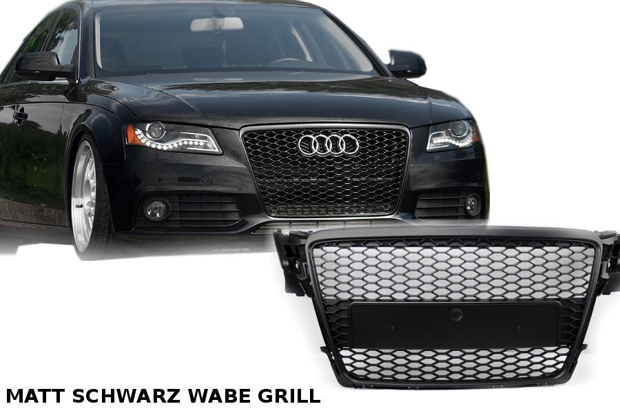 schwarz matt mesh grill für rs4 s line für audi a4 b8 wabengrill